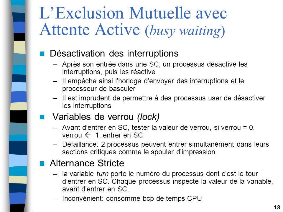 18 LExclusion Mutuelle avec Attente Active (busy waiting) Désactivation des interruptions –Après son entrée dans une SC, un processus désactive les interruptions, puis les réactive –Il empêche ainsi lhorloge denvoyer des interruptions et le processeur de basculer –Il est imprudent de permettre à des processus user de désactiver les interruptions Variables de verrou (lock) –Avant dentrer en SC, tester la valeur de verrou, si verrou = 0, verrou 1, entrer en SC –Défaillance: 2 processus peuvent entrer simultanément dans leurs sections critiques comme le spouler dimpression Alternance Stricte –la variable turn porte le numéro du processus dont cest le tour dentrer en SC.