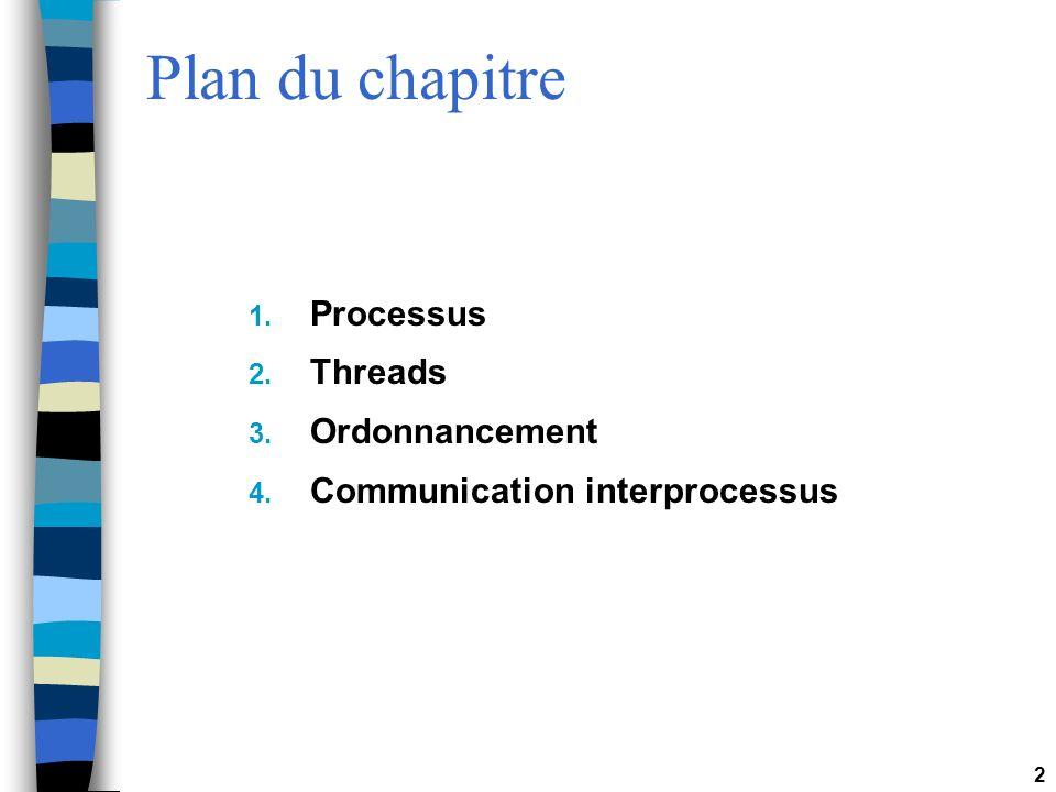2 Plan du chapitre 1. Processus 2. Threads 3. Ordonnancement 4. Communication interprocessus