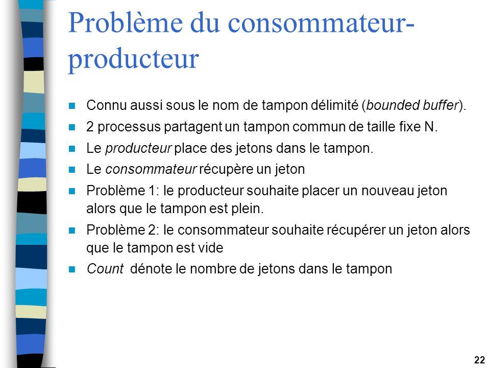 22 Problème du consommateur- producteur Connu aussi sous le nom de tampon délimité (bounded buffer). 2 processus partagent un tampon commun de taille