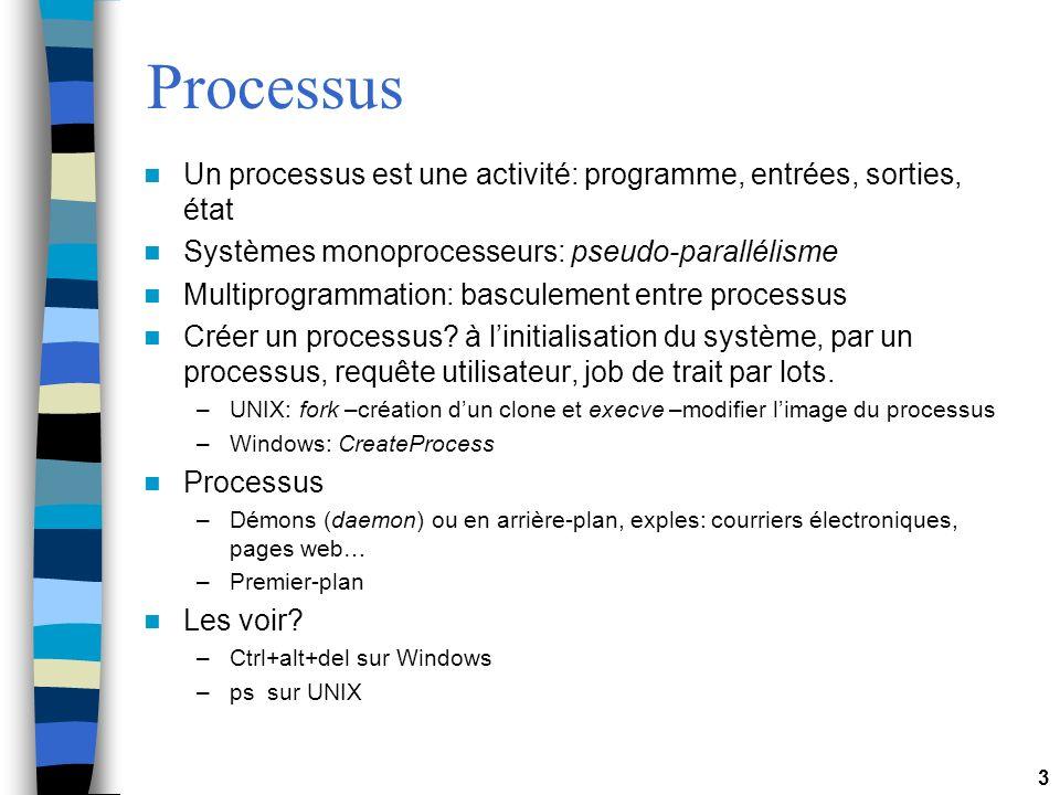 3 Processus Un processus est une activité: programme, entrées, sorties, état Systèmes monoprocesseurs: pseudo-parallélisme Multiprogrammation: basculement entre processus Créer un processus.
