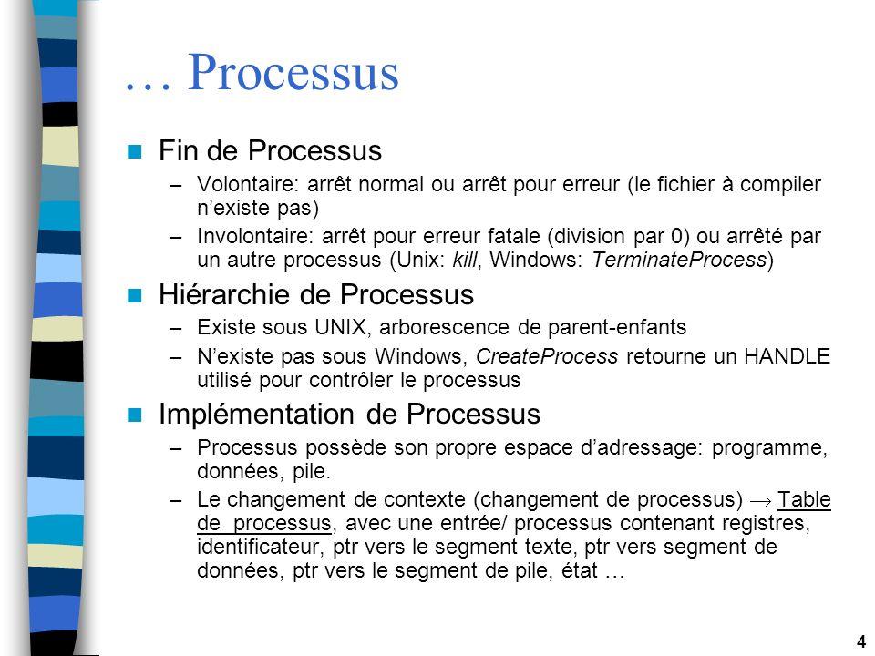 4 … Processus Fin de Processus –Volontaire: arrêt normal ou arrêt pour erreur (le fichier à compiler nexiste pas) –Involontaire: arrêt pour erreur fatale (division par 0) ou arrêté par un autre processus (Unix: kill, Windows: TerminateProcess) Hiérarchie de Processus –Existe sous UNIX, arborescence de parent-enfants –Nexiste pas sous Windows, CreateProcess retourne un HANDLE utilisé pour contrôler le processus Implémentation de Processus –Processus possède son propre espace dadressage: programme, données, pile.