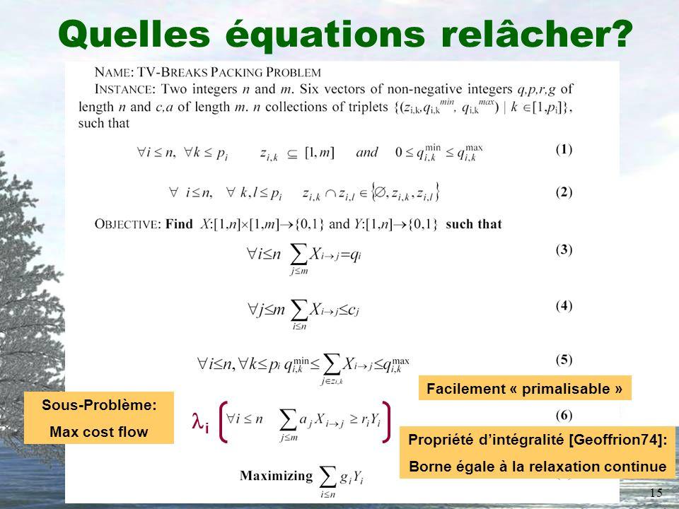 15 Quelles équations relâcher? Sous-Problème: Max cost flow i Facilement « primalisable » Propriété dintégralité [Geoffrion74]: Borne égale à la relax