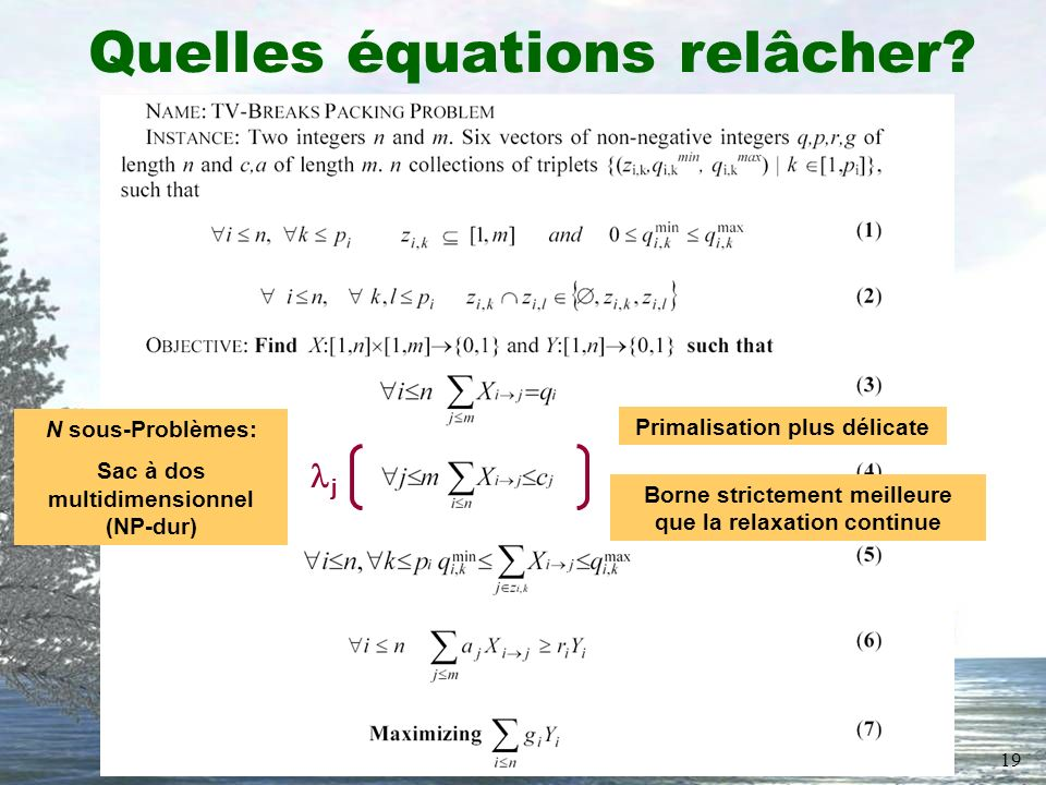 19 Quelles équations relâcher? N sous-Problèmes: Sac à dos multidimensionnel (NP-dur) j Primalisation plus délicate Borne strictement meilleure que la