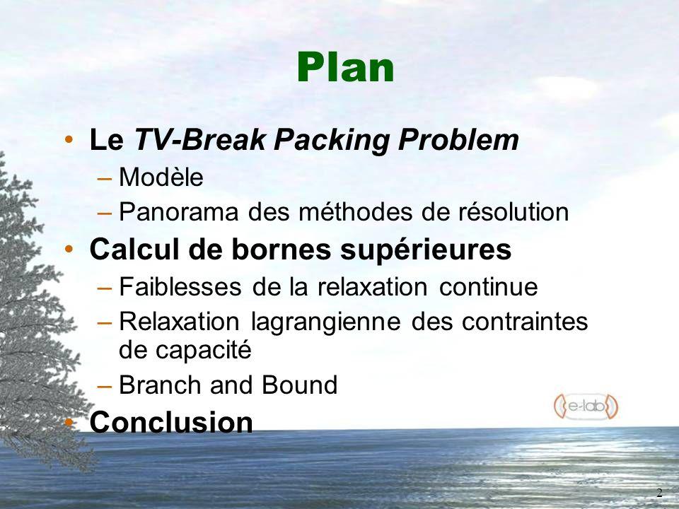 2 Plan Le TV-Break Packing Problem –Modèle –Panorama des méthodes de résolution Calcul de bornes supérieures –Faiblesses de la relaxation continue –Relaxation lagrangienne des contraintes de capacité –Branch and Bound Conclusion