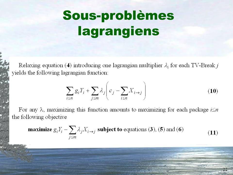 22 Sous-problèmes lagrangiens