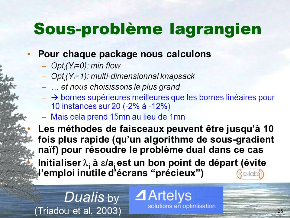 28 Sous-problème lagrangien Pour chaque package nous calculons –Opt i (Y i =0): min flow –Opt i (Y i =1): multi-dimensionnal knapsack –… et nous choisissons le plus grand – bornes supérieures meilleures que les bornes linéaires pour 10 instances sur 20 (-2% à -12%) –Mais cela prend 15mn au lieu de 1mn Les méthodes de faisceaux peuvent être jusquà 10 fois plus rapide (quun algorithme de sous-gradient naïf) pour résoudre le problème dual dans ce cas Initialiser j à /a j est un bon point de départ (évite lemploi inutile décrans précieux) Dualis by (Triadou et al, 2003)