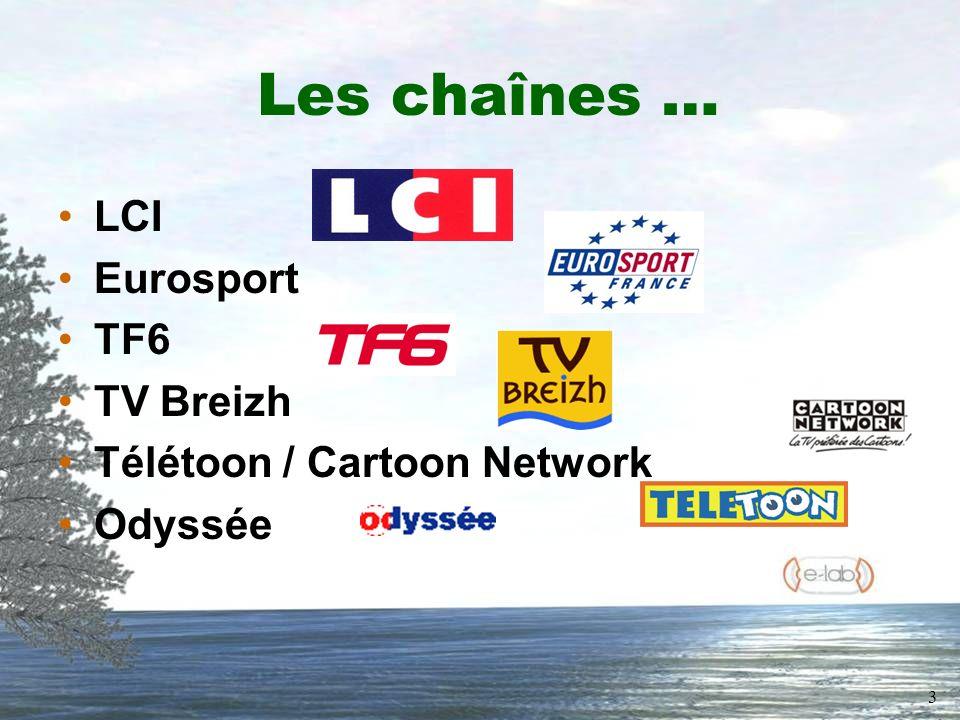 3 Les chaînes … LCI Eurosport TF6 TV Breizh Télétoon / Cartoon Network Odyssée