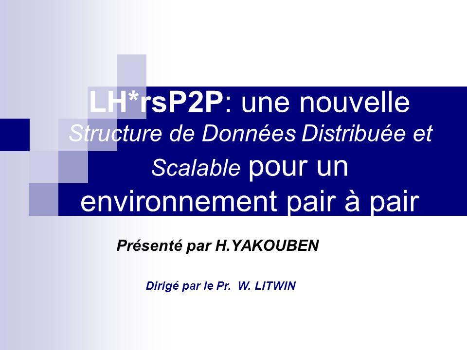 LH*rsP2P: une nouvelle SDDS pour un environnement pair à pair2 14/09/2006 PLAN Objectifs du stage État de lart LH*P2P et LH*rsP2P Architecture fonctionnelle de LH*rsP2P Domaine dapplication Conclusion et perspectives