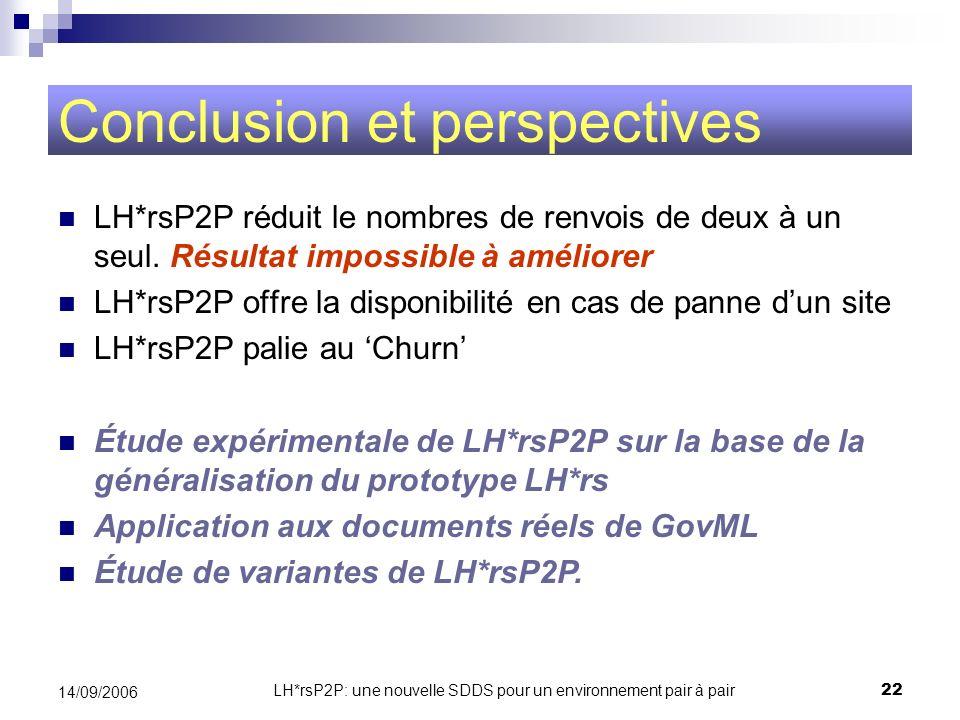 LH*rsP2P: une nouvelle SDDS pour un environnement pair à pair22 14/09/2006 Conclusion et perspectives LH*rsP2P réduit le nombres de renvois de deux à