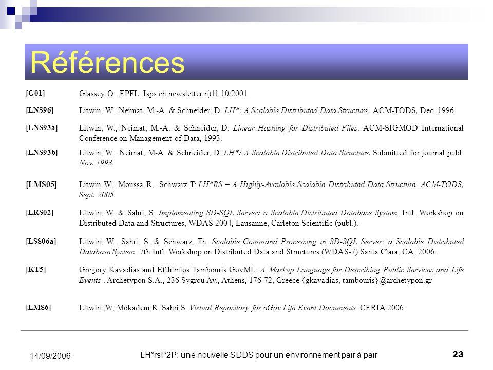 LH*rsP2P: une nouvelle SDDS pour un environnement pair à pair23 14/09/2006 Références [G01] Glassey O, EPFL. Isps.ch newsletter n)11.10/2001 [LNS96] L