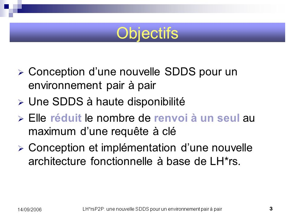 LH*rsP2P: une nouvelle SDDS pour un environnement pair à pair14 14/09/2006 Hachage linaire distribué et scalable Pair à Pair LH*P2P et LH*rsP2P PC i=3 n=2 P0 j=4 i=3 n=1 Pairs P4 j=3 i=2 n=2 P9 j=4 i=3 n=2 P1 j=4 i=3 n=2 9 9 IAM Exemple de recherche