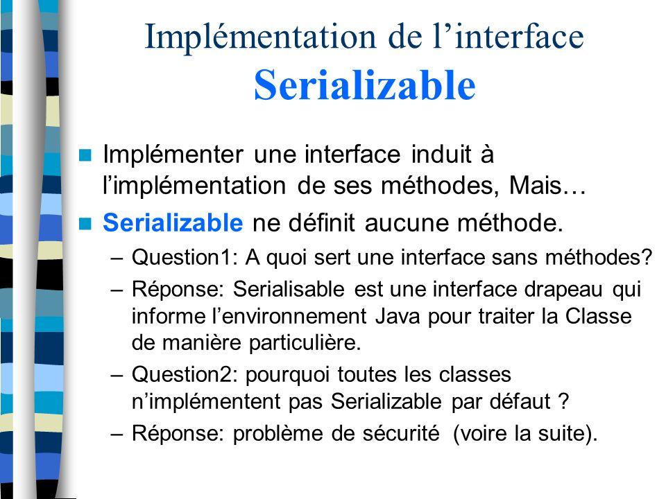 Implémentation de linterface Serializable Implémenter une interface induit à limplémentation de ses méthodes, Mais… Serializable ne définit aucune méthode.