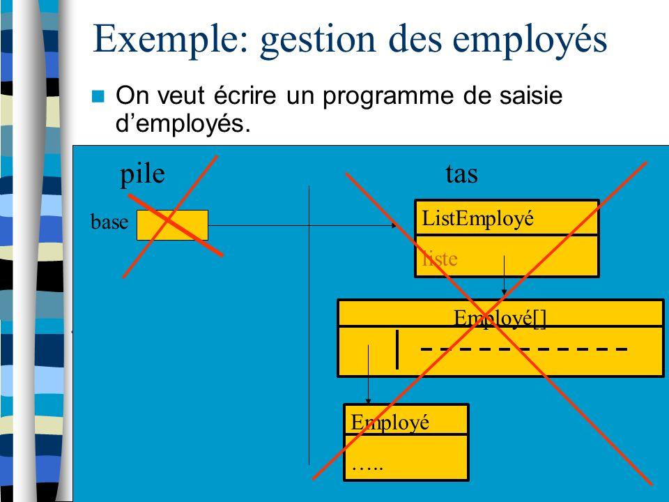 Exemple: gestion des employés On veut écrire un programme de saisie demployés.