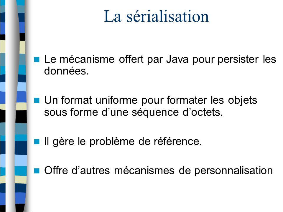 La sérialisation Le mécanisme offert par Java pour persister les données.