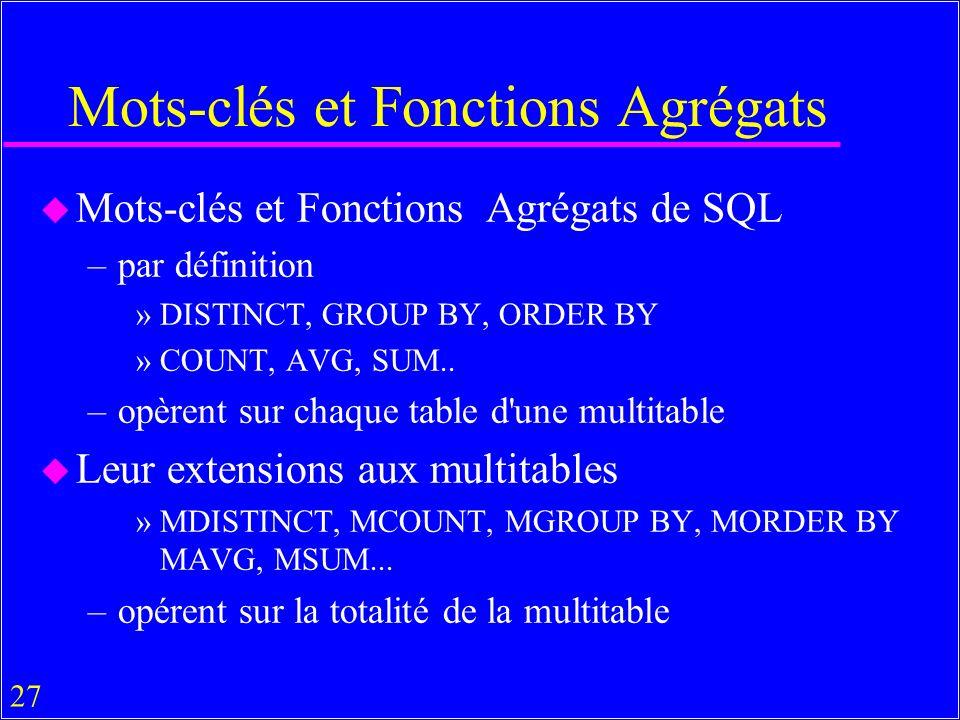27 Mots-clés et Fonctions Agrégats u Mots-clés et Fonctions Agrégats de SQL –par définition »DISTINCT, GROUP BY, ORDER BY »COUNT, AVG, SUM..