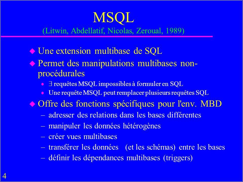 45 Manipulations MBD en MsAccess u On peut faire des opérations MBD limitées entre –Bases MsAccess –Une BD de MsAccess et »toute autre BD sous un SGBD compatible ODBC »Paradox, Btrieve, Dbase »Tout programme OLE compatible u Excel notamment