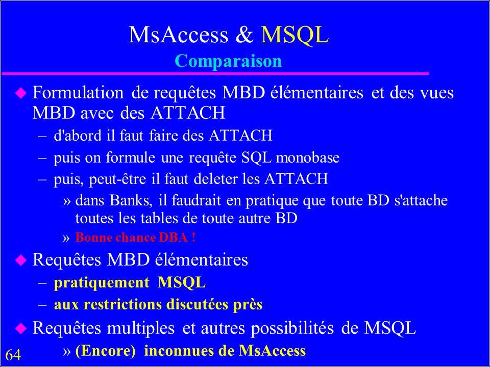 64 MsAccess & MSQL Comparaison u Formulation de requêtes MBD élémentaires et des vues MBD avec des ATTACH –d abord il faut faire des ATTACH –puis on formule une requête SQL monobase –puis, peut-être il faut deleter les ATTACH »dans Banks, il faudrait en pratique que toute BD s attache toutes les tables de toute autre BD »Bonne chance DBA .