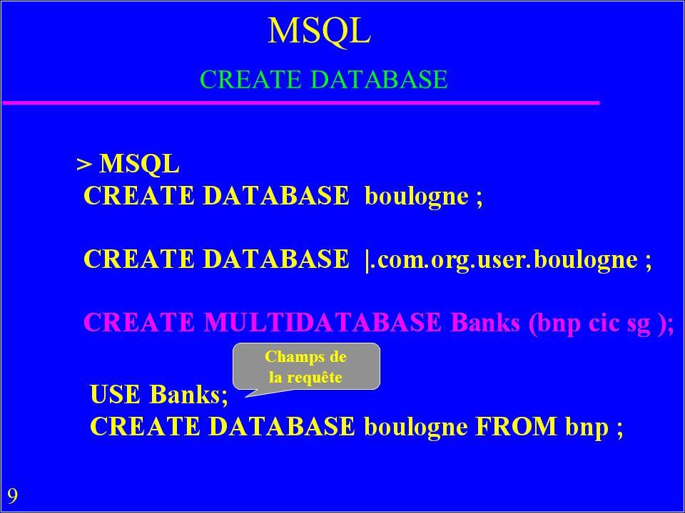 80 Exercices u Créer une table attachée (liée) dans MsAccess u Faire en pratique les requêtes mdb MsAccess discutées en cours, en SQL et QBE u Tester DB2, Oracle, SQL-Server… u Comment faire sous ces SGBDs pour la multibase et les requêtes MSQL ci-dessus .