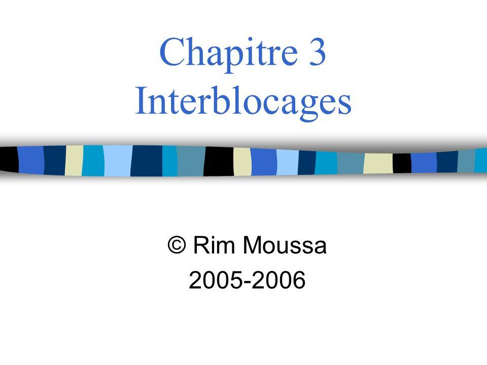2 Plan du chapitre 1.Ressources 2.Interblocage 3.Comment gérer les interblocages.