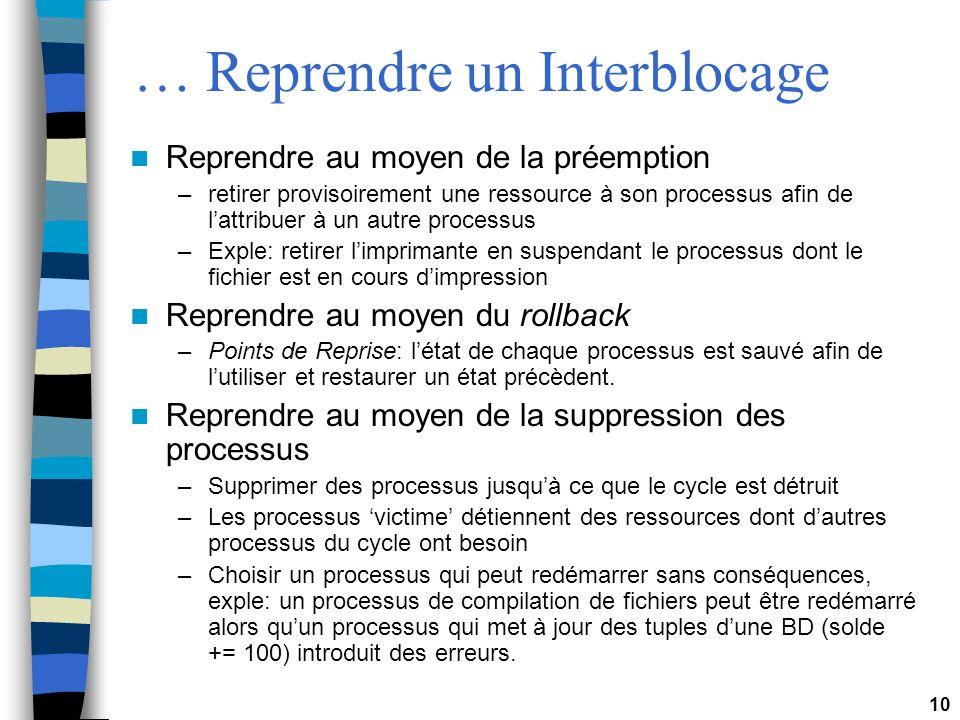 10 … Reprendre un Interblocage Reprendre au moyen de la préemption –retirer provisoirement une ressource à son processus afin de lattribuer à un autre