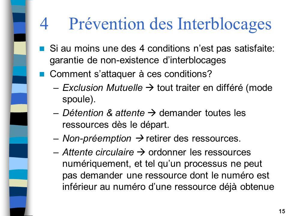 15 4Prévention des Interblocages Si au moins une des 4 conditions nest pas satisfaite: garantie de non-existence dinterblocages Comment sattaquer à ce