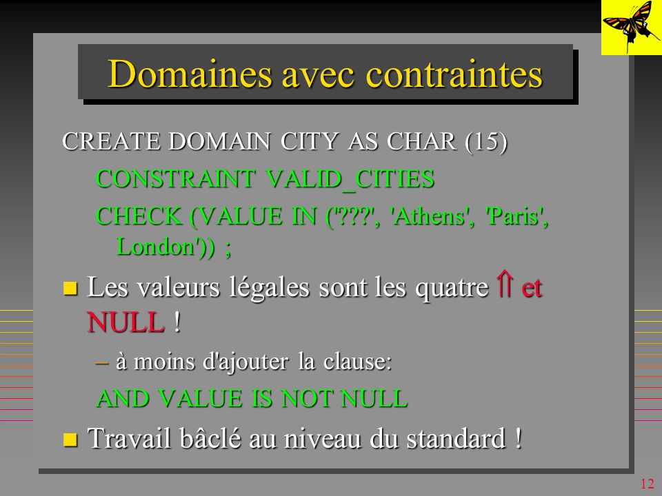 11 Les domaines SQL-2 n n CREATE DOMAIN nom [AS] type CONSTRAINT def DEFAULT VALUE value n Exemple : CREATE DOMAIN S#_DOM AS CHAR (4) ; l On peut alor