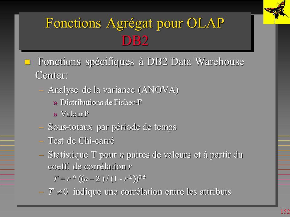 151 Fonctions Agrégat pour OLAP DB2 n CountBig –Pour le nombre de tuples > 2**31 n Covariance –entre des attributs ou des expressions de valeur n Correlation –entre des attributs ou des expressions de valeur n Regression functions –10 fonctions –Les paramètres de la droite de régression entre des attributs ou des expressions de valeur n Rank, Dense_Rank –Rank en présence de duplicata : 1,2,2,4,4,6… –Dense_Rank en présence de duplicata : 1,2,2,3,3,4…