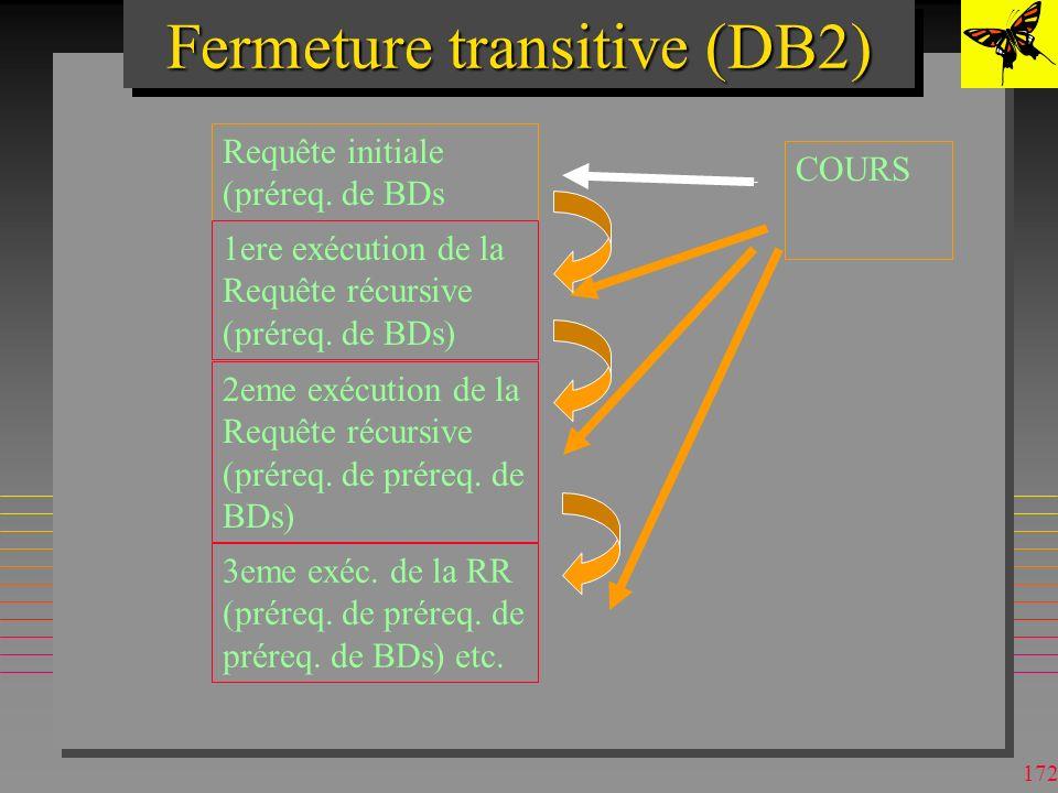 171 Fermeture transitive (DB2) WITH PRQ (CNOM, PNOM) AS ((SELECT CNOM, PNOM FROM COURS WHERE CNOM = BDs ) UNION ALL (SELECT C.CNOM, C.PNOM FROM PRQ AS P, COURS AS C WHERE C.CNOM = P.PNOM)) SELECT DISTINCT PNOM FROM PRQ n La requête récursive s exécute tant que la sélection dans PRQ avec PRQ courant nest pas vide.