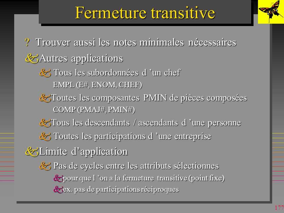 176 Fermeture transitive (DB2) CNOMPNOM BDsStPh BdsLprg CNOMPNOMNMIN BDsStPh15 BDsLPrg12 StPhInfG13 InfGMath11 LprgInfG12 StPhInfG LprgInfG InfGMath PNOM StPh InfG Math