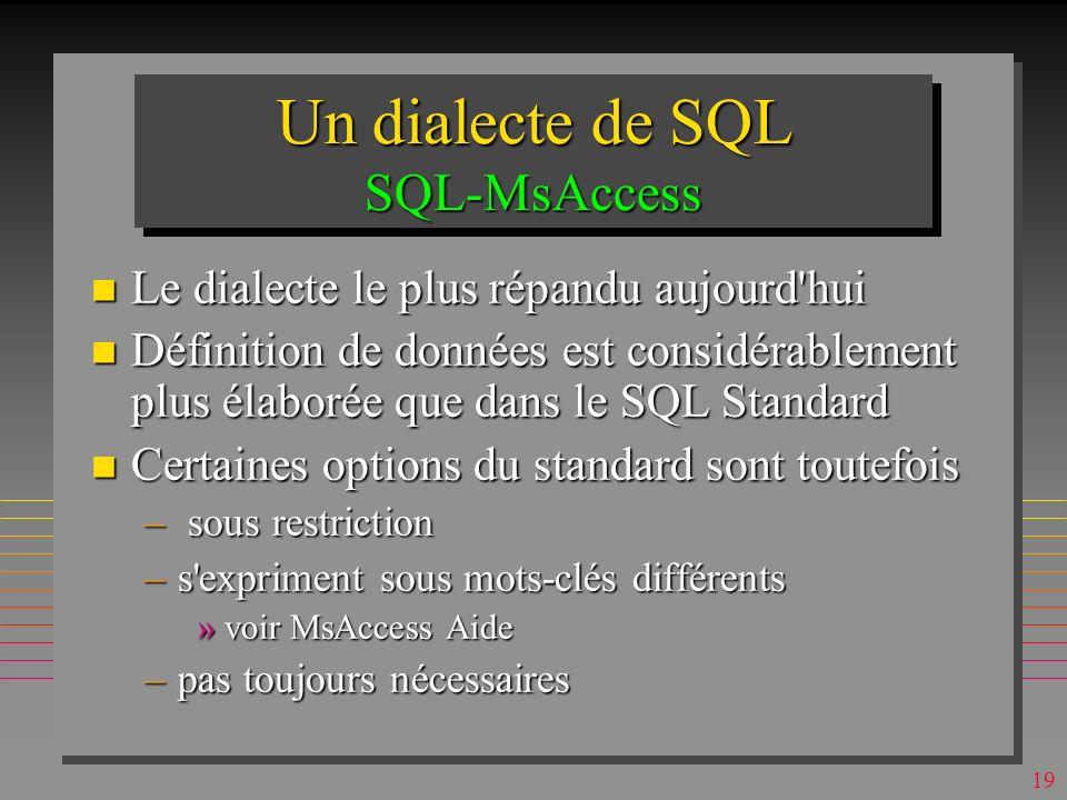 18 IndexesIndexes n Définition des indexes ne devait pas être à ce niveau de SQL (c est le schéma interne) n En principe, une table peut avoir un nombre quelconque d indexes n Les indexes accélèrent les recherches n Mais, les indexes pénalisent les mises à jour .