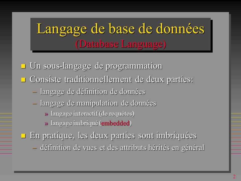 142 Fonctions scalaires n S appliquent aux valeurs individuelles –d attributs –d agrégations SQL n Il y a plusieurs catégories –mathématiques –financières –chaînes de caractères –dates… »voir le cours « SQL Subtilités » n Varient entre les dialectes –MsAccess possède UCASE, pas DB2 –DB2 possède LOG10, pas MsAccess