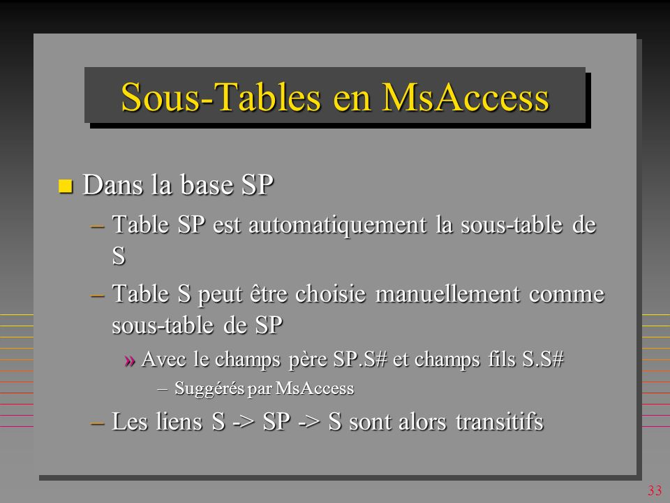 32 Sous-Tables en MsAccess n Une table peut avoir une sous-table –dite sous-feuille n La sous-table « auto » contient la clé étrangère de sa table (feuille) n Alternativement, la sous-table est choisie à travers un lien sémantique défini manuellement –Table ou requête