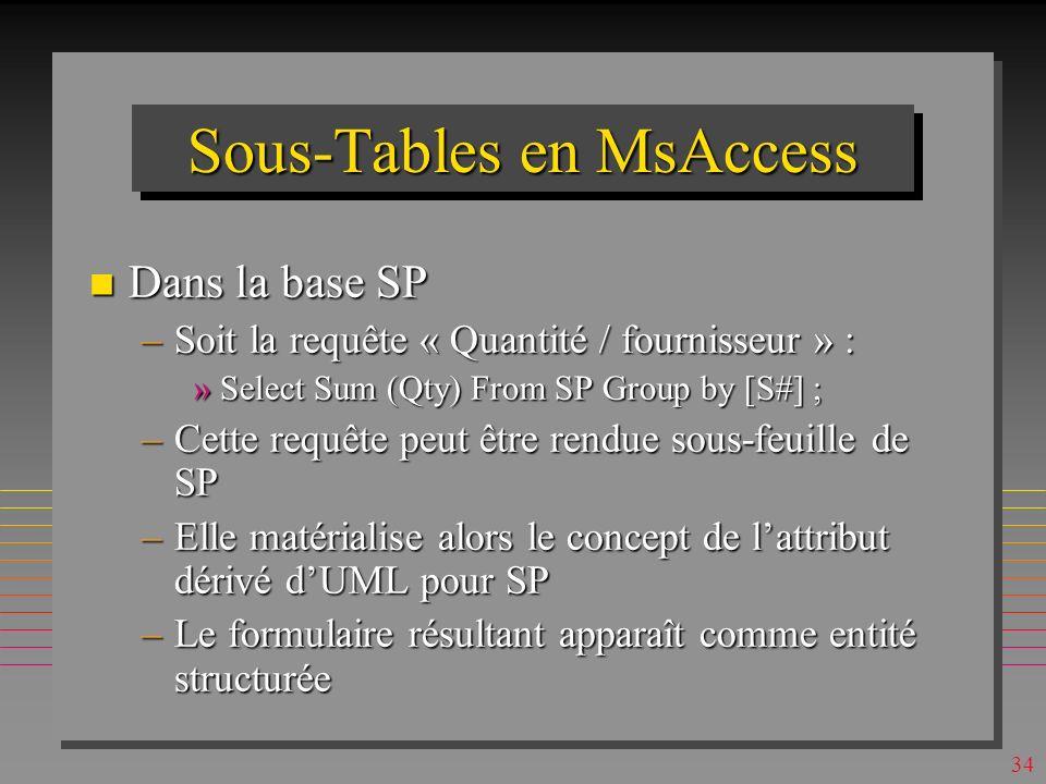 33 Sous-Tables en MsAccess n Dans la base SP –Table SP est automatiquement la sous-table de S –Table S peut être choisie manuellement comme sous-table de SP »Avec le champs père SP.S# et champs fils S.S# –Suggérés par MsAccess –Les liens S -> SP -> S sont alors transitifs