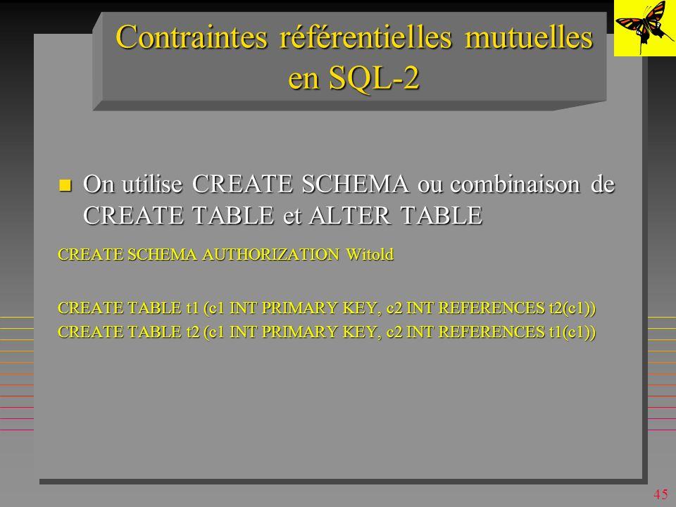 44 DROP (MSAccess) n La syntaxe DROP {TABLE table | INDEX index ON table | PROCEDURE procédure | VIEW vue} n Permet de supprimer : –une table –un index –une vue –une procédure n Un choix hors standard SQL de MS