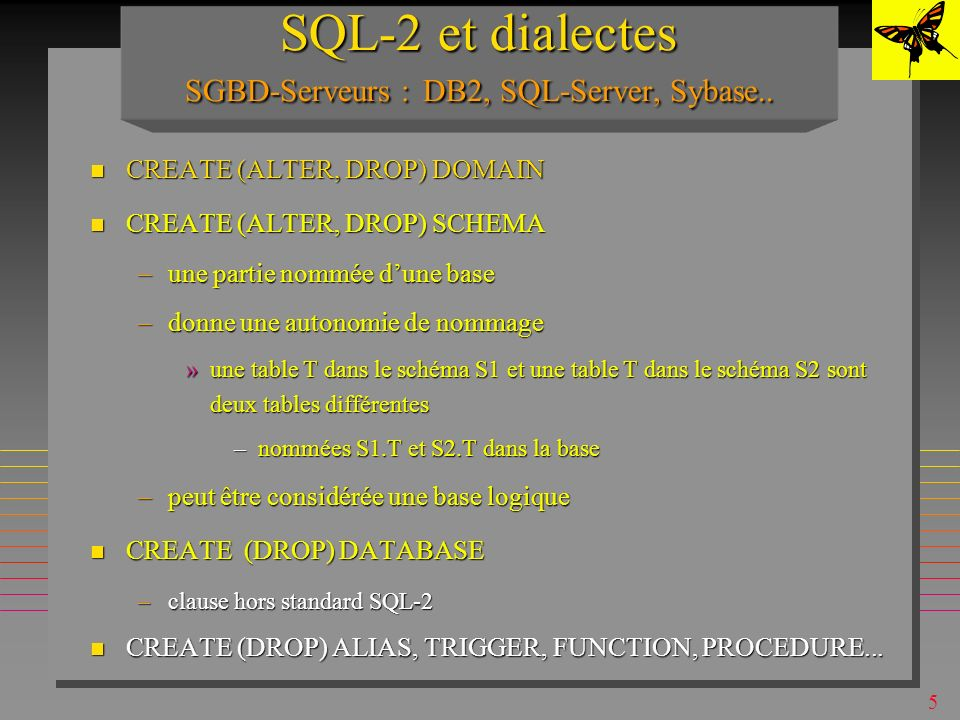 15 ALTER & DROP TABLE ALTER TABLE S ADD DISCOUNT SMALLINT ; n certains systèmes: ALTER TABLE S DROP DISCOUNT SMALLINT ; ALTER TABLE S RENAME SNAME NAME ;.....