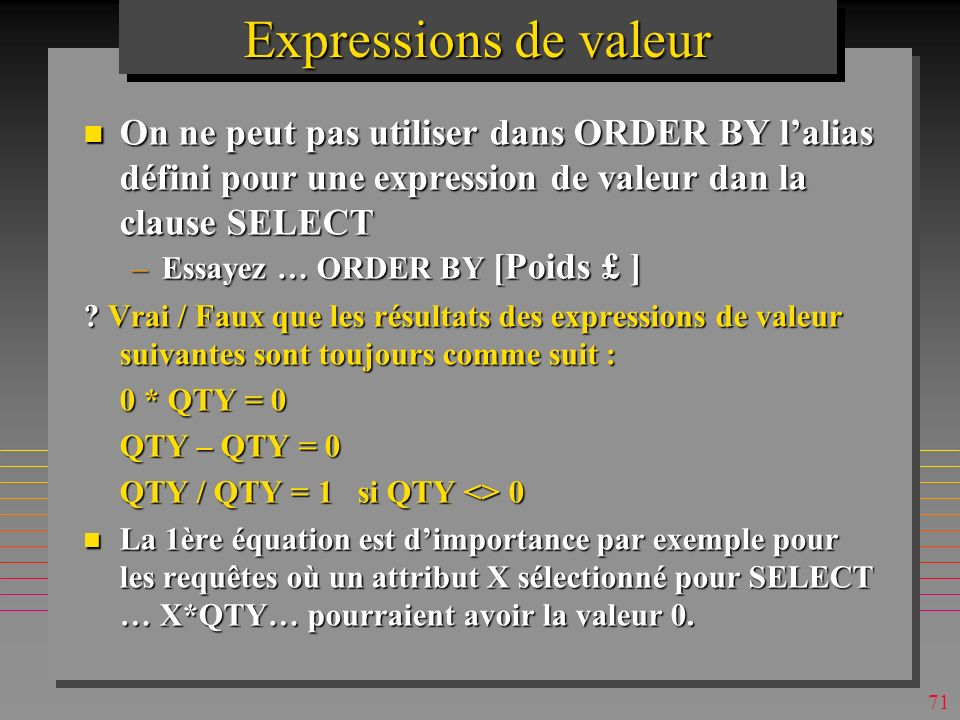 70 Expressions de valeur n On peut sélectionner tous les attributs et une expression de valeur SELECT *, 2.1*weight as [Poids en KG], weight + weight/5 - (weight^2 - weight*2.1) as [un jeu] FROM P order by 2.1*weight desc; n On peut utiliser une expression de valeur comme argument dune clause de restriction ….