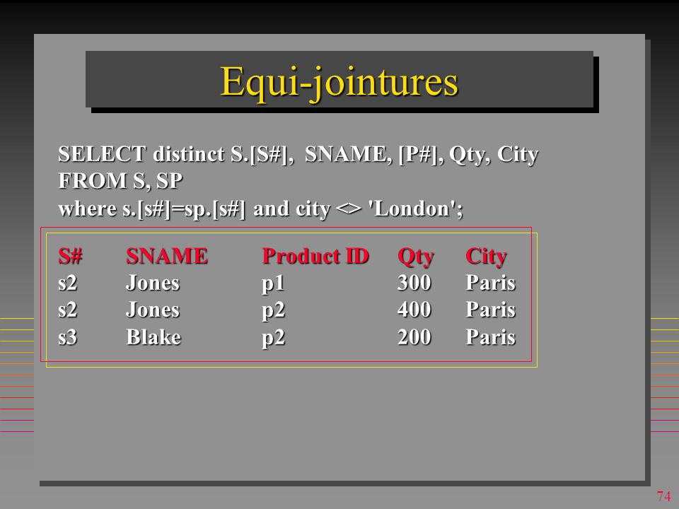 73 JointuresJointures SELECT distinct S.[S#], SNAME, [P#], Qty, City FROM S, SP where s.[s#]=sp.[s#] and city <> London ;
