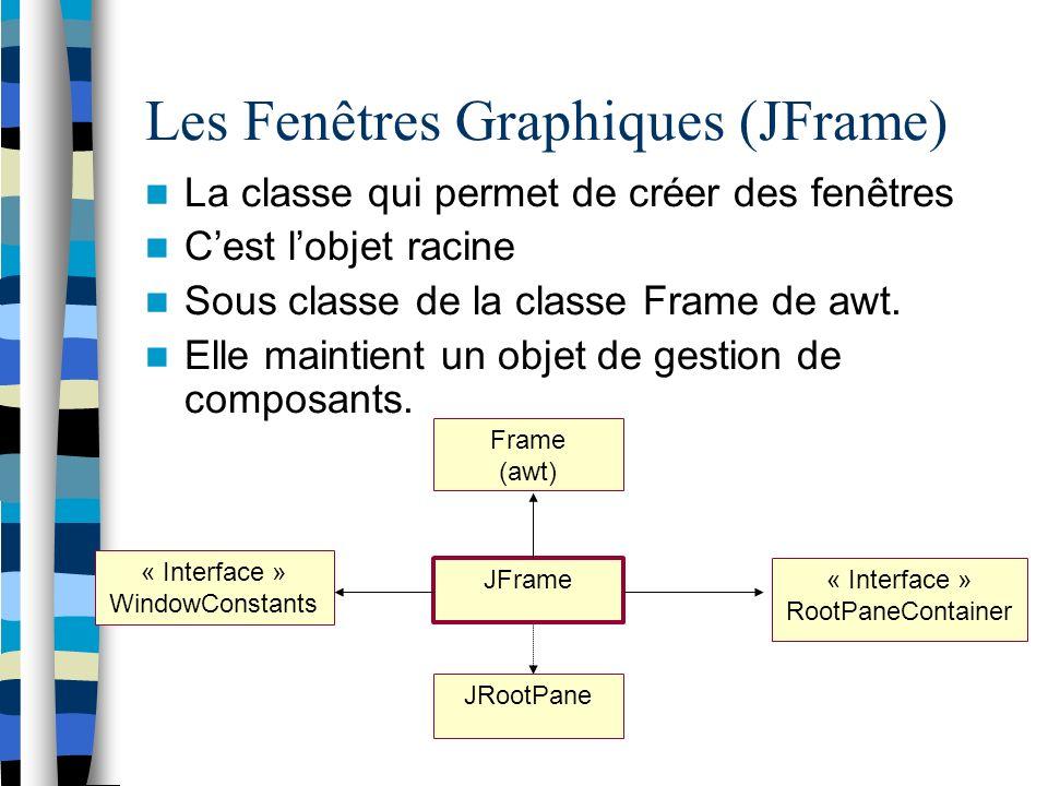 « Interface » WindowConstants Les Fenêtres Graphiques (JFrame) La classe qui permet de créer des fenêtres Cest lobjet racine Sous classe de la classe Frame de awt.