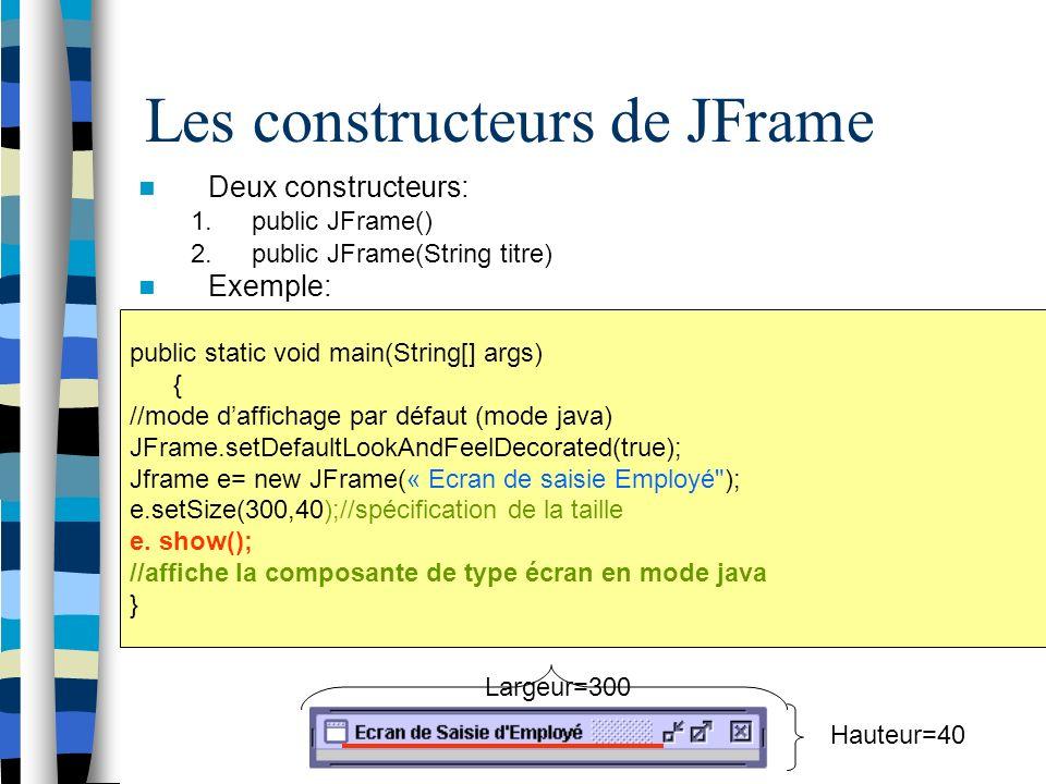 Les constructeurs de JFrame Deux constructeurs: 1.public JFrame() 2.public JFrame(String titre) Exemple: public static void main(String[] args) { //mode daffichage par défaut (mode java) JFrame.setDefaultLookAndFeelDecorated(true); Jframe e= new JFrame(« Ecran de saisie Employé ); e.setSize(300,40);//spécification de la taille e.