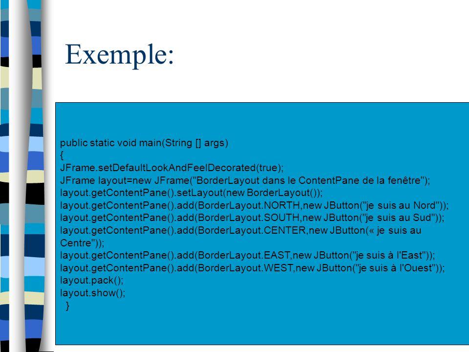 Exemple: public static void main(String [] args) { JFrame.setDefaultLookAndFeelDecorated(true); JFrame layout=new JFrame(
