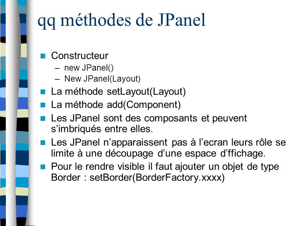 qq méthodes de JPanel Constructeur –new JPanel() –New JPanel(Layout) La méthode setLayout(Layout) La méthode add(Component) Les JPanel sont des composants et peuvent simbriqués entre elles.