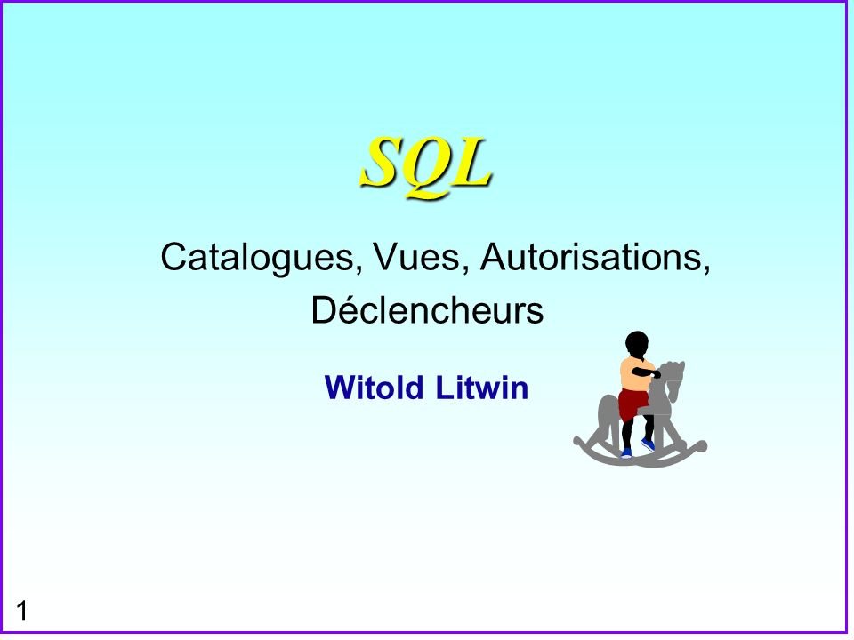 12 Vues SQL n Vue avec une fonction agrégat: n CREATE VIEW PQ (P#, TOTQTY) AS SELECT P#, SUM (QTY) FROM SP GROUP BY P# ;