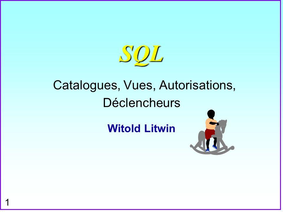 22 Déclencheurs (Exemple) n On a déclaré pour S le déclencheur D: Create Trigger D on S for Delete as Delete From SP Where SP.S# = Delete.S# ; S