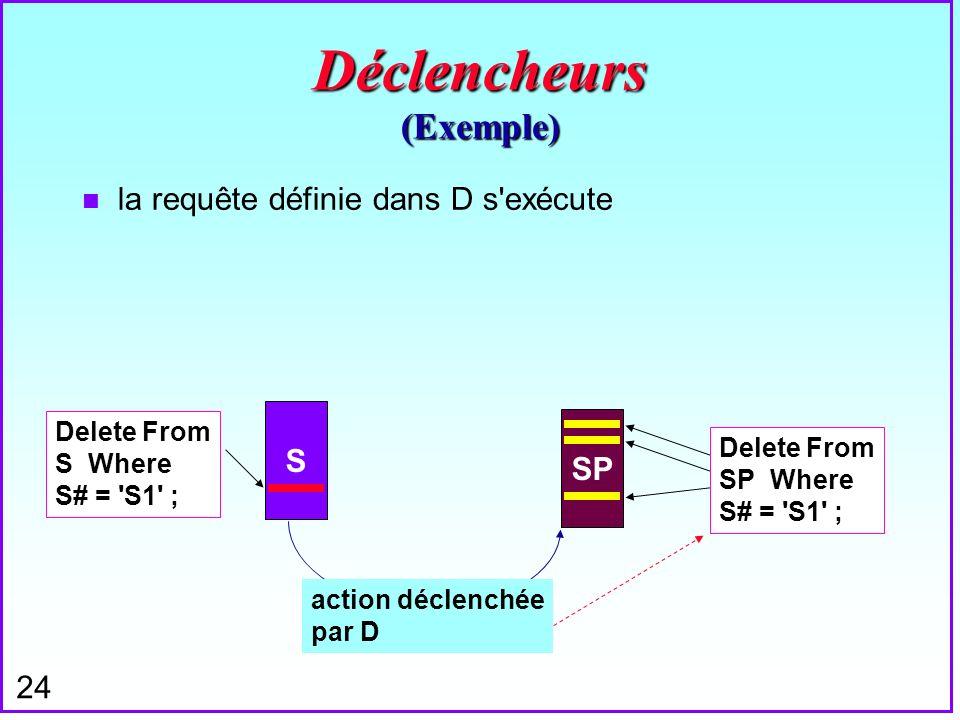 24 Déclencheurs (Exemple) n la requête définie dans D s'exécute S SP action déclenchée par D Delete From S Where S# = 'S1' ; Delete From SP Where S# =