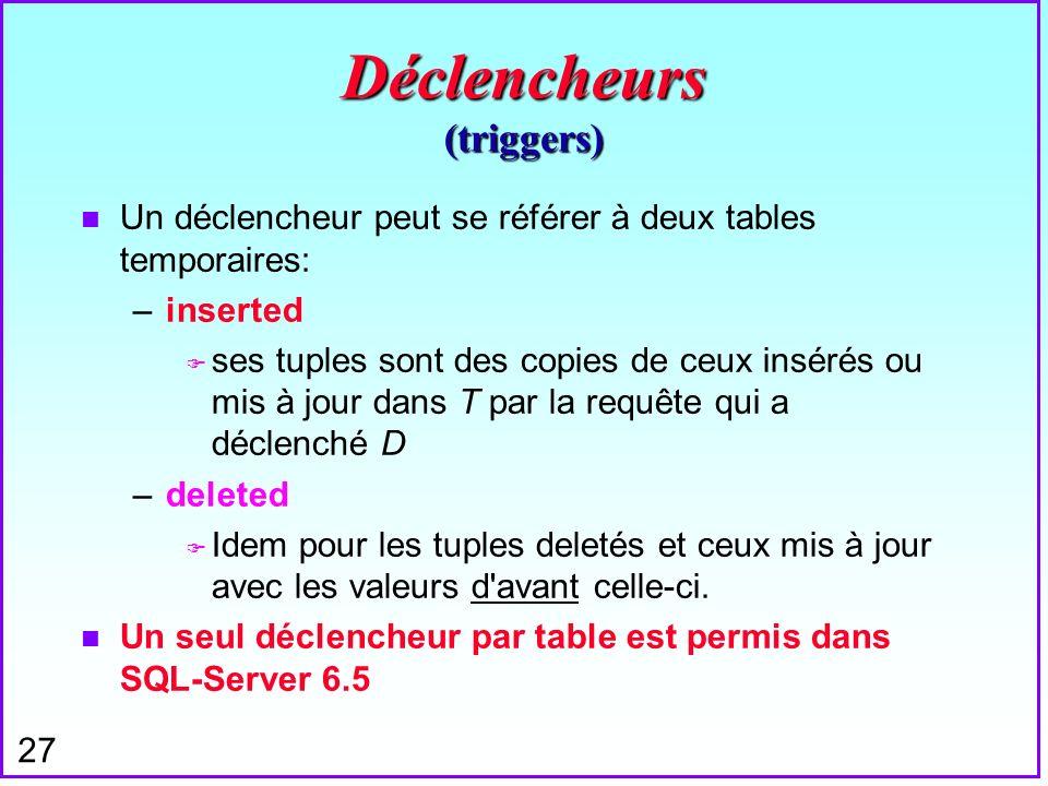 27 Déclencheurs (triggers) n Un déclencheur peut se référer à deux tables temporaires: –inserted F ses tuples sont des copies de ceux insérés ou mis à