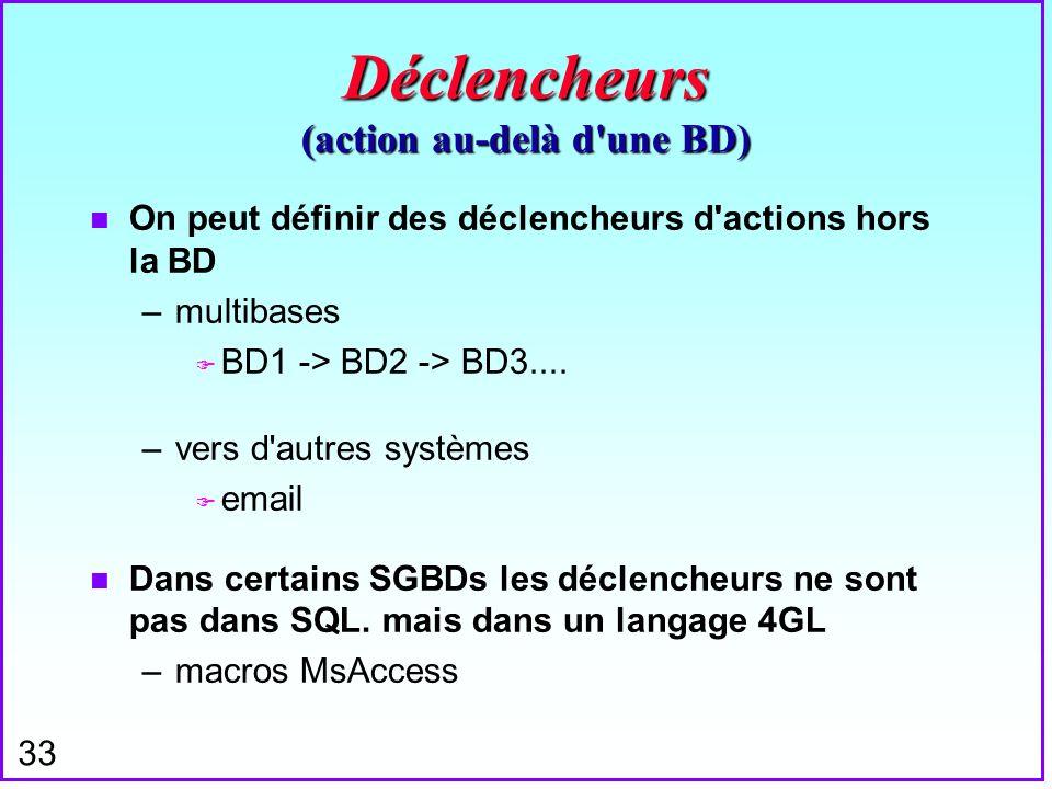 33 Déclencheurs (action au-delà d'une BD) n On peut définir des déclencheurs d'actions hors la BD –multibases F BD1 -> BD2 -> BD3.... –vers d'autres s