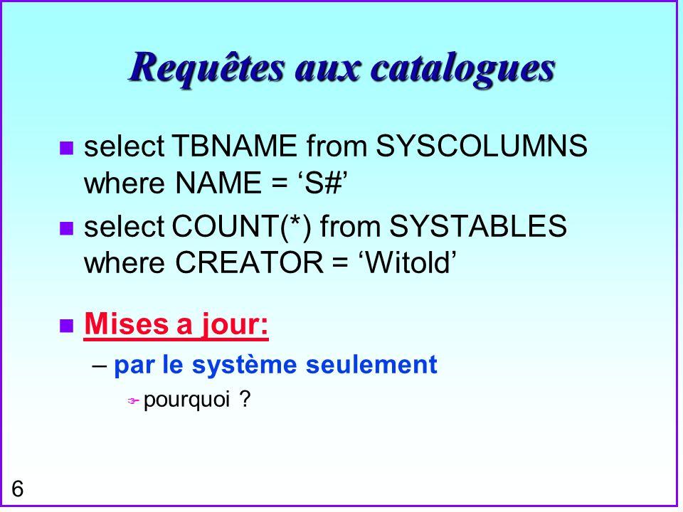 7 Commande COMMENT n Pour MAJ les champs REMARKS comment on table S is fournisseur comment on column SP.P# is clé étrangère Õ Exercice: créer un commentaire sur SYSINDEXES