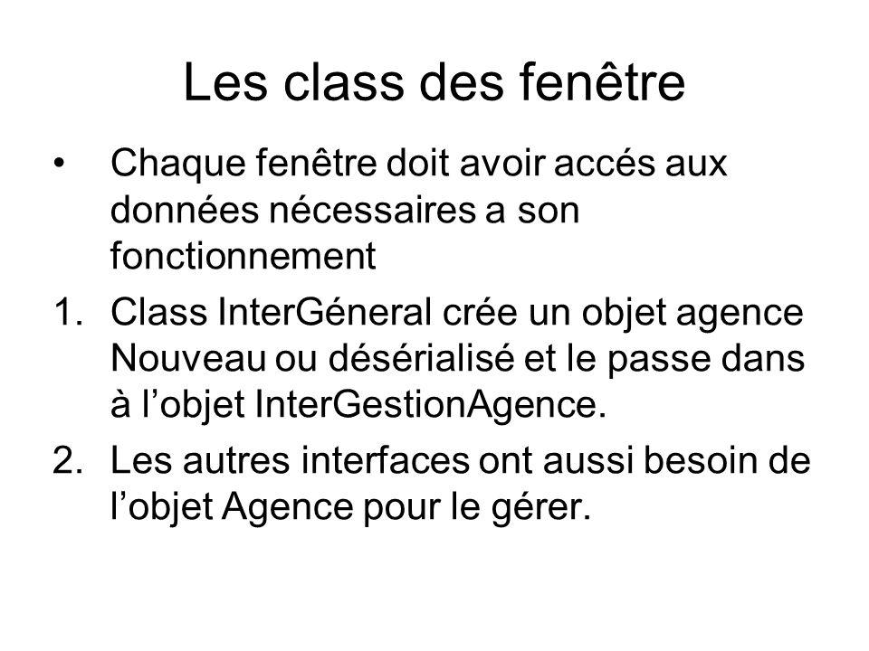 Les class des fenêtre Chaque fenêtre doit avoir accés aux données nécessaires a son fonctionnement 1.Class InterGéneral crée un objet agence Nouveau ou désérialisé et le passe dans à lobjet InterGestionAgence.