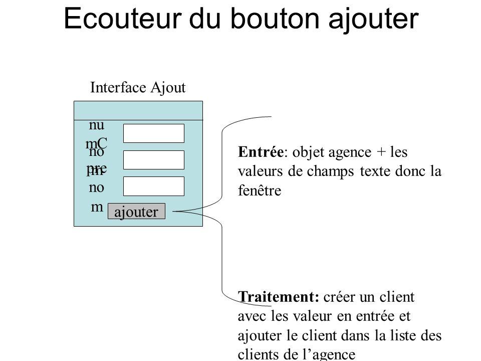 Ecouteur du bouton ajouter Interface Ajout nu mC no m pre no m ajouter Entrée: objet agence + les valeurs de champs texte donc la fenêtre Traitement: créer un client avec les valeur en entrée et ajouter le client dans la liste des clients de lagence