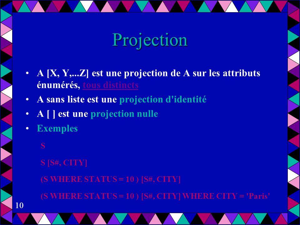 10 Projection A [X, Y,...Z] est une projection de A sur les attributs énumérés, tous distincts A sans liste est une projection d identité A [ ] est une projection nulle Exemples S S [S#, CITY] (S WHERE STATUS = 10 ) [S#, CITY] (S WHERE STATUS = 10 ) [S#, CITY] WHERE CITY = Paris